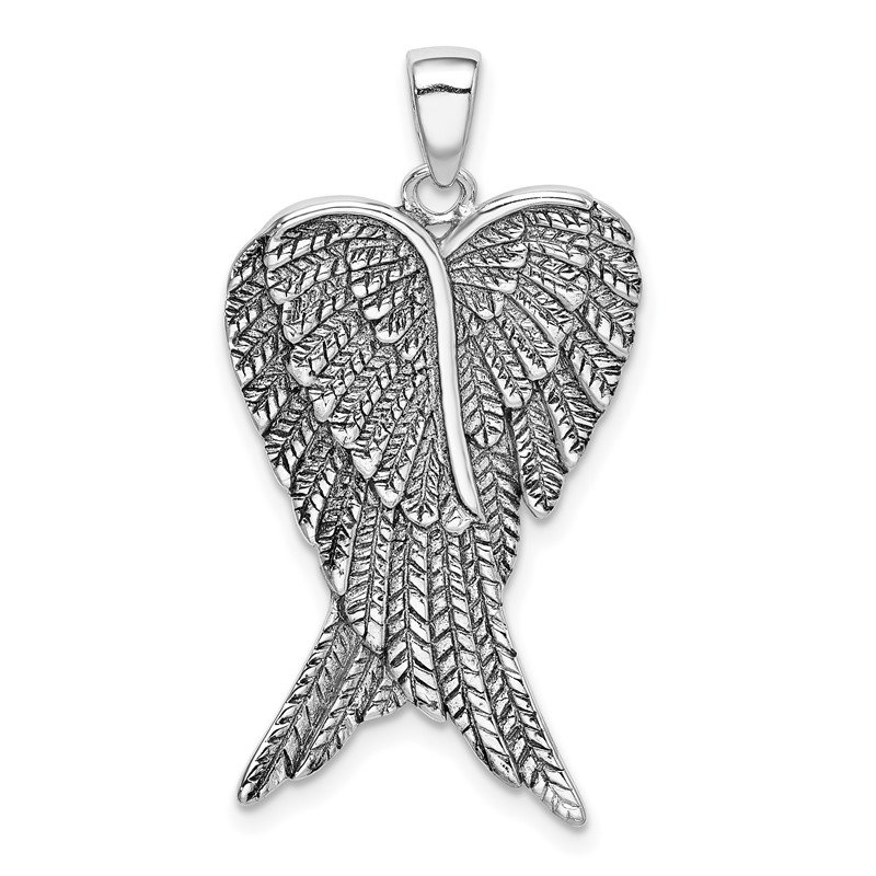 Quality Gold Sterling Silver Rhodium-plated Antiqued Angel Wing Pendant