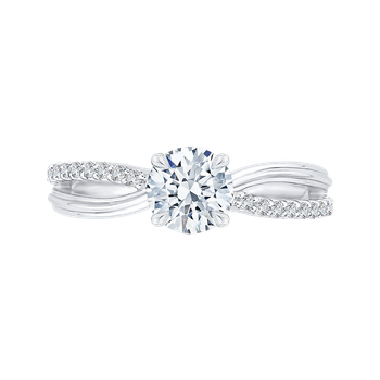 Round Diamond Engagement Ring with Split Shank In 18K White Gold (Semi-Mount)