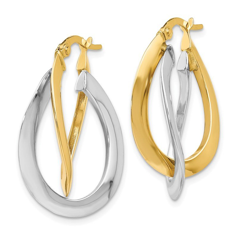 Leslie's Leslie's 14K Two-tone Polished Twisted Double Hoop Earrings