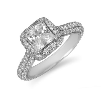 18K WG Diamond Engagement Ring Prn Center Mounting