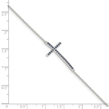 Sterling Silver Black CZ Cross Bracelet