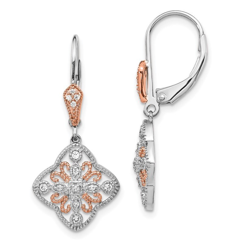 Quality Gold 14k White Gold w/Rose Rhodium Diamond Leverback Earrings