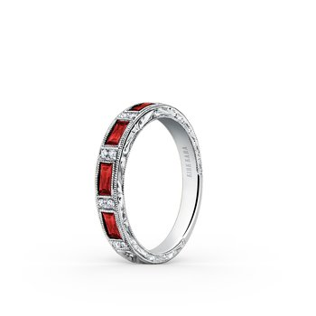 Ruby Engraved Diamond Milgrain Wedding Band