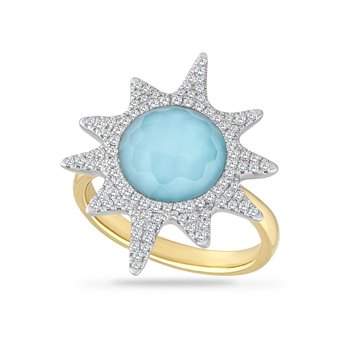 14K SUN RING WITH 0.40CT DIAMONDS & DOUBLET QUARTZ & BLUE TOPAZ, TOP DIAMETER 25.1MM