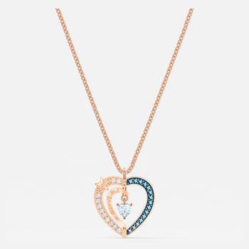 Starry Night Heart Pendant, Blue, Rose-gold tone plated