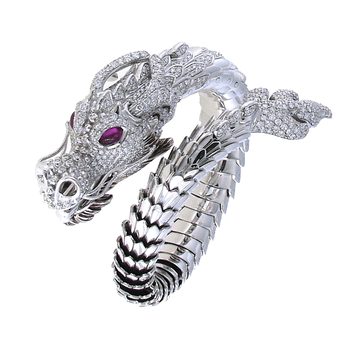 18Kt Gold Limited Edition Diamond And Ruby Dragon Bangle
