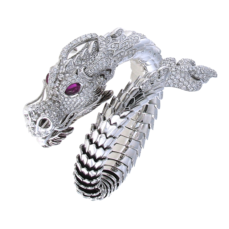 Roberto Coin 18Kt Gold Limited Edition Diamond And Ruby Dragon Bangle