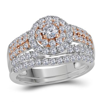 14kt White Gold Womens Round Diamond Double Halo Rose-tone Bridal Wedding Engagement Ring Band Set 1-1/2 Cttw