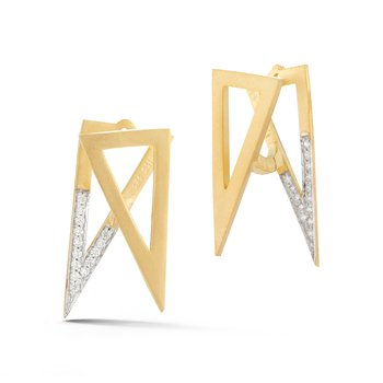 14KY FRONT/BACK TRIANGLE EARRINGS .30CT