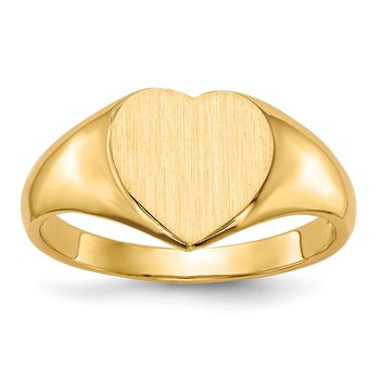 14k 9.0x9.0mm Open Back Heart Signet Ring