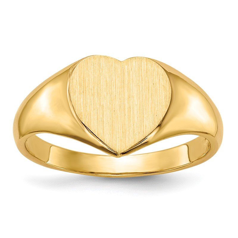 Quality Gold 14k 9.0x9.0mm Open Back Heart Signet Ring