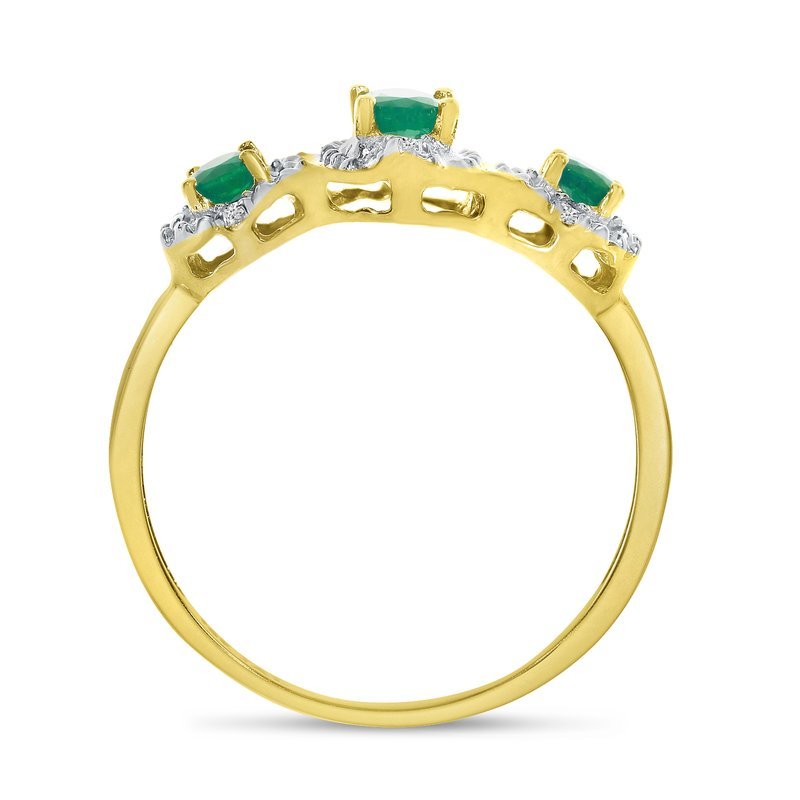 Color Merchants 10k Yellow Gold Oval Emerald And Diamond Three Stone Ring