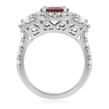 Platinum Oval Cut Ruby Ring