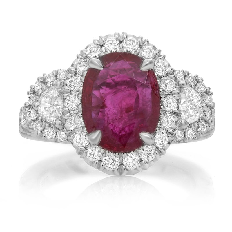 Roman & Jules Platinum Oval Cut Ruby Ring
