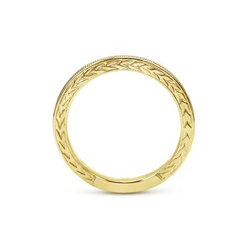 14k Yellow Gold Engraved Milgrain Slim Stackable Ring