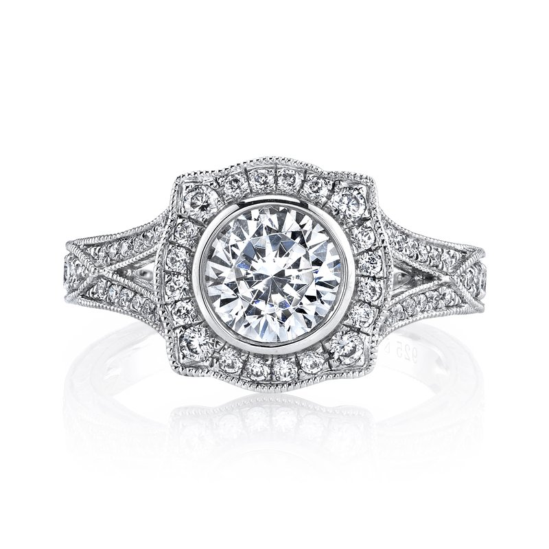MARS Jewelry Diamond Engagement Ring 0.52 ct dia, 0.11 ct saph