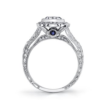 Diamond Engagement Ring 0.52 ct dia, 0.11 ct saph