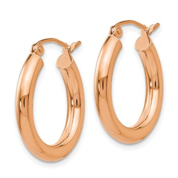 14k Rose Gold Polished 3mm Lightweight Tube Hoop Earrings