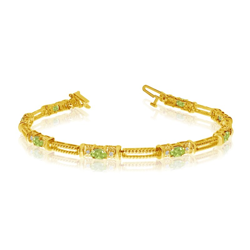 Color Merchants 14k Yellow Gold Natural Peridot And Diamond Tennis Bracelet