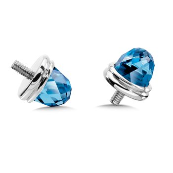 Sterling Silver Blue Topaz Caps (pair)