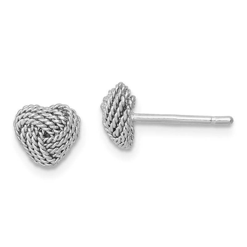 Quality Gold Sterling Silver Rhodium-plated Rope Heart Knot Post Earrings