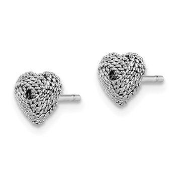 Sterling Silver Rhodium-plated Rope Heart Knot Post Earrings