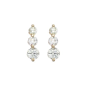 14k Yellow Gold 2 ct 3 Stone Diamond Earring