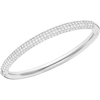 Stone Bangle, White, Stainless steel