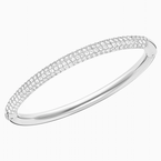 Swarovski Stone Bangle, White, Rhodium plated
