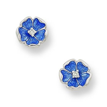 Blue Rose Stud Earrings.Sterling Silver-White Sapphires
