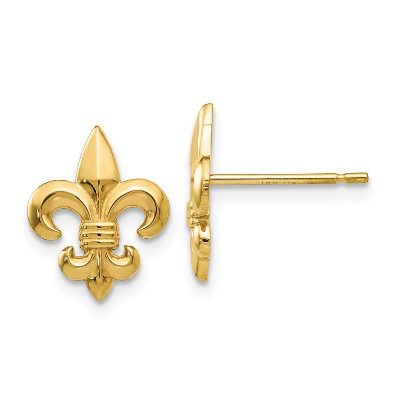 Quality Gold 14k Gold Polished Fleur de Lis Post Earrings