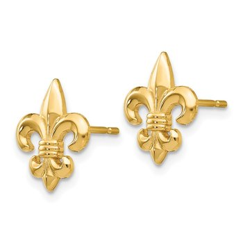 14k Gold Polished Fleur de Lis Post Earrings