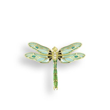 Green Dragonfly Pendant.18K -Diamond - Plique-a-Jour