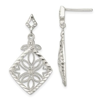 Sterling Silver Diamond Cut Textured Dangle Post Earrings