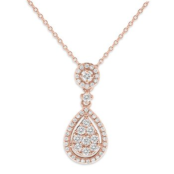 Diamond Teardrop Necklace in 14k Rose Gold with 50 Diamonds weighing .43ct tw.