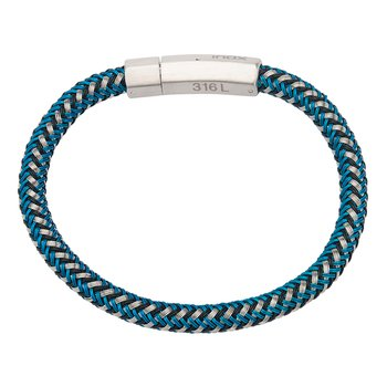 Mix Blue,Black and White Woven Rubber Bracelet