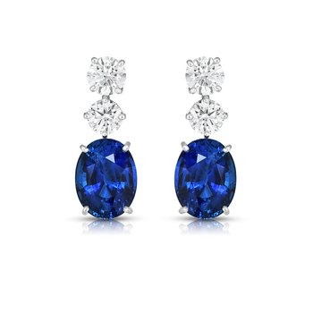 Platinum Sapphire & Diamond Earrings