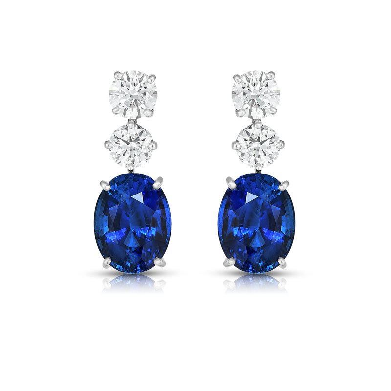 Oscar Heyman Platinum Sapphire & Diamond Earrings