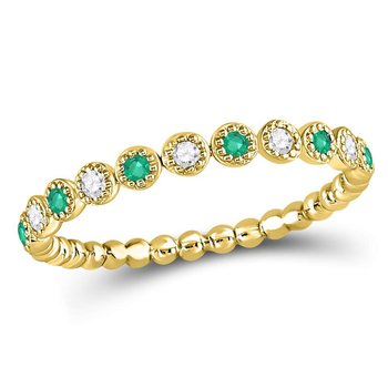 10kt Yellow Gold Womens Round Emerald Diamond Dot Stackable Band Ring 1/6 Cttw