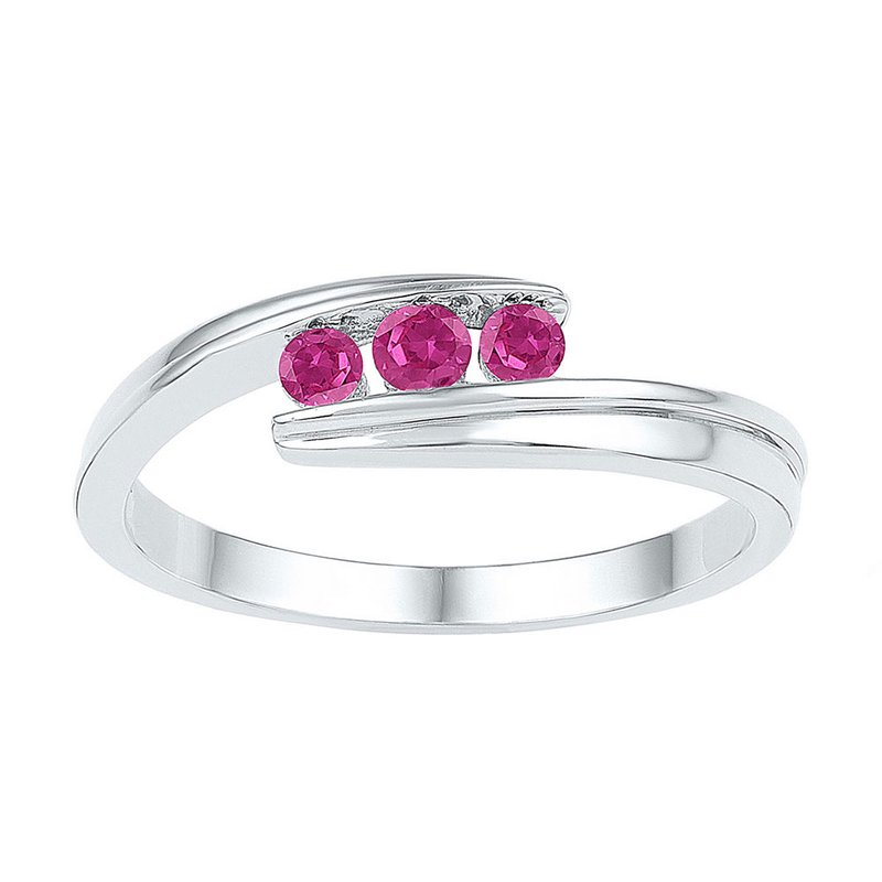 Gold-N-Diamonds, Inc. (Atlanta) Sterling Silver Womens Round Lab-Created Pink Sapphire 3-stone Ring 1/2 Cttw