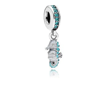 Tropical Seahorse Dangle Charm, Teal CZ & Turquoise Enamel
