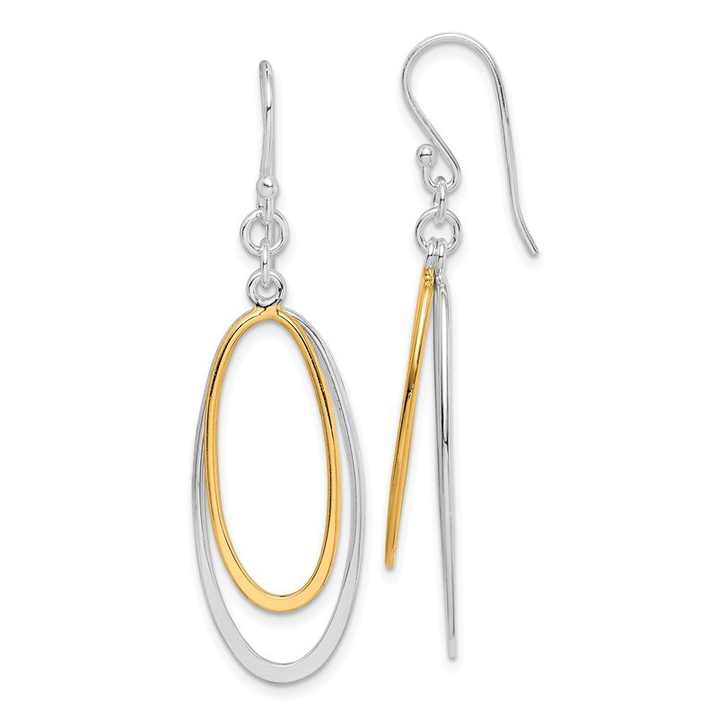 Quality Gold Sterling Silver Dangling Double Oval Earrings