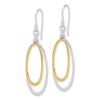 Sterling Silver Dangling Double Oval Earrings