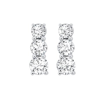 3 Stone Prong Set Diamond Earrings in 14K White Gold (1/2 ct. tw.)