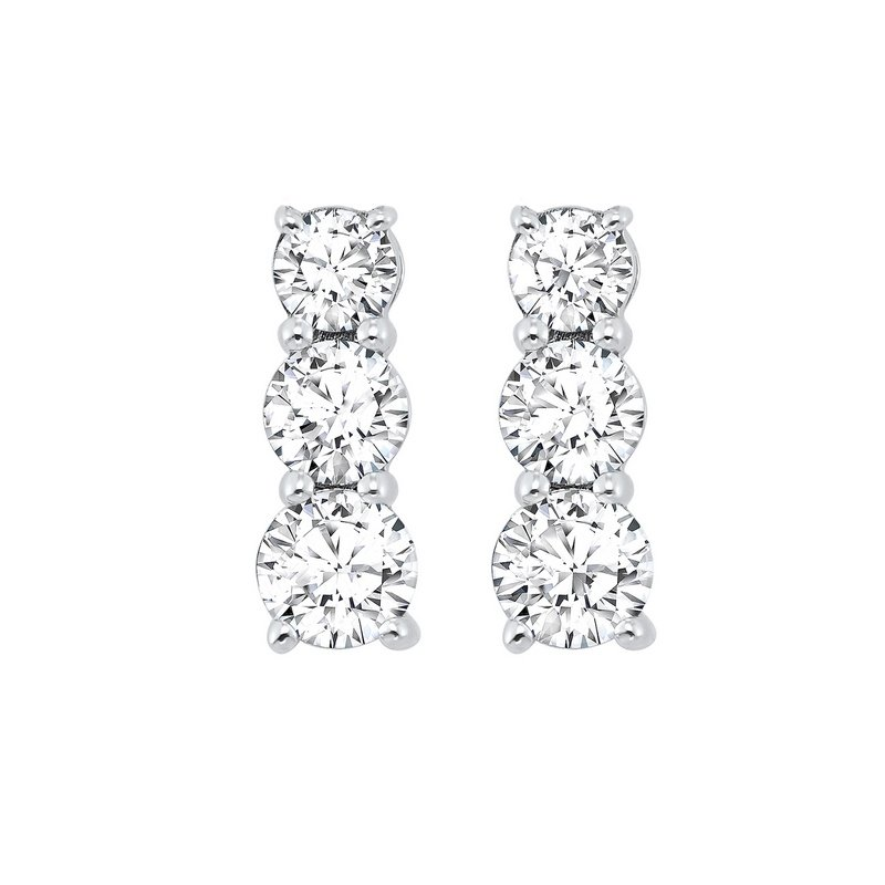 Gems One 3 Stone Prong Set Diamond Earrings in 14K White Gold (1/2 ct. tw.)