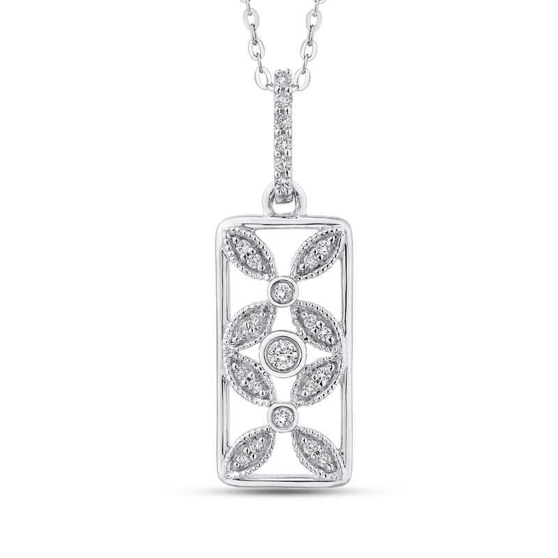 Essentials 10K White Gold 1/5 ct Diamond Flower Design Fashion Pendant with Chain