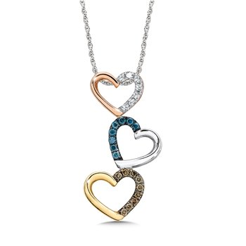 Triple heart pendant in 14k Rose, White and Yellow Gold ( 1/4ct. Tw.)