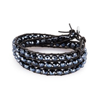 Bracelet. Black leather, 316L steel closure and gun metal crystals