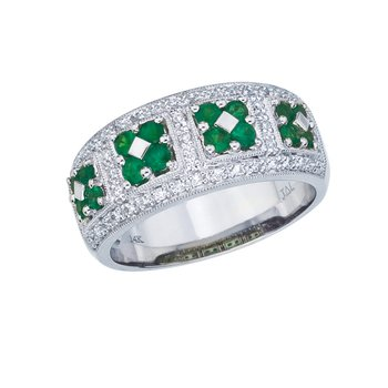 14k White Gold Emerald and  Diamond Wide Fashion Band