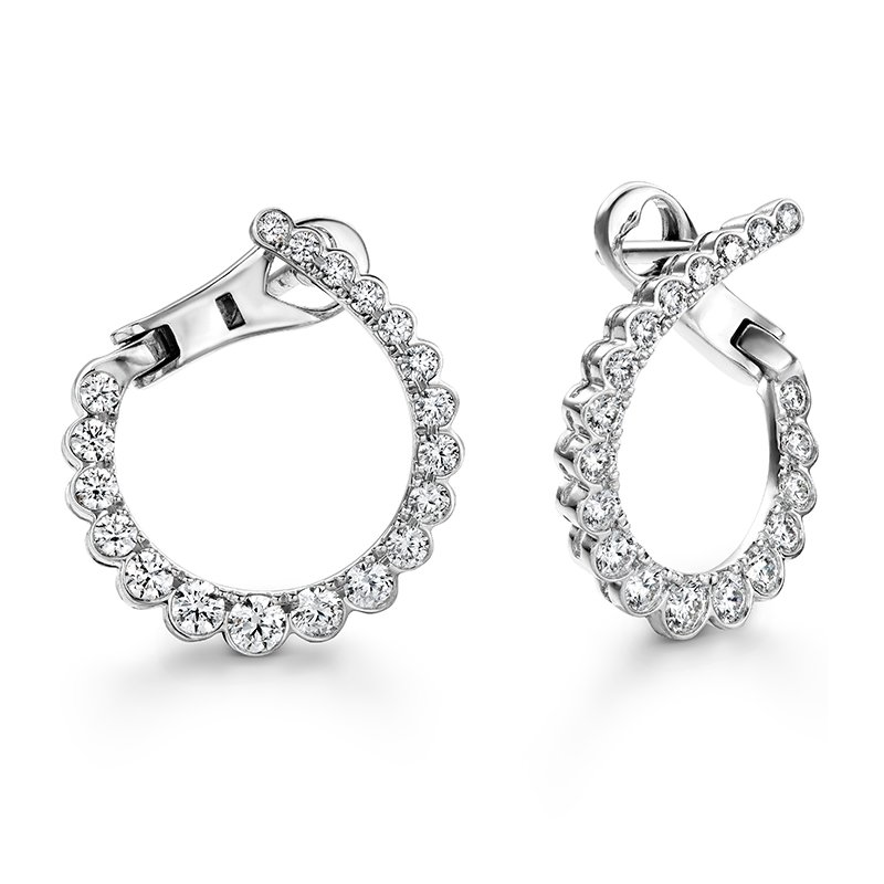 Hearts on Fire 0.98 ctw. Aerial Regal Diamond Hoops- Small